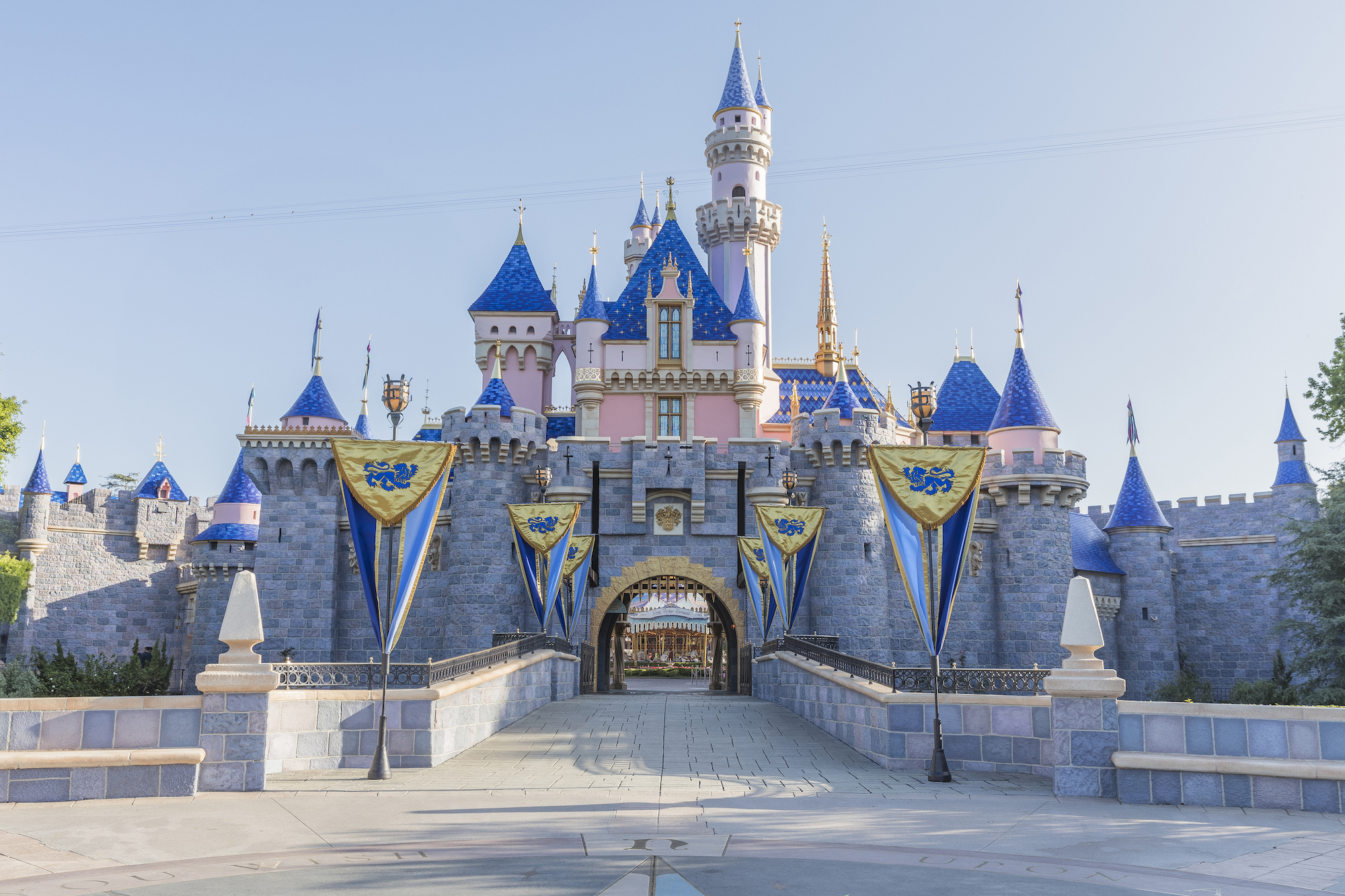 Sleeping Beauty Castle at Disneyland Park in Anaheim, Calif., is now open after a stunning refurbishment, enhanced with bold new colors and pixie dust, among other enhancements. (Christian Thompson/Disneyland Resort)